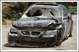 Arson of 9 cars and hatred slogan grafitti by israel settlers Palestine - May 29 2013
