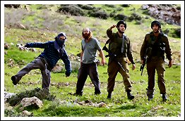 (Masked) Israeli extremist settlers attack Palestinians under protection of Israeli army in Madama (Click to see the report & photos)