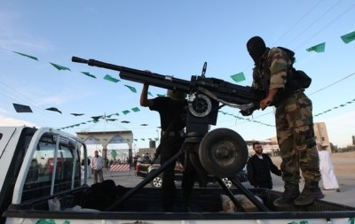 Armed Palestinian Hamas militants keep w