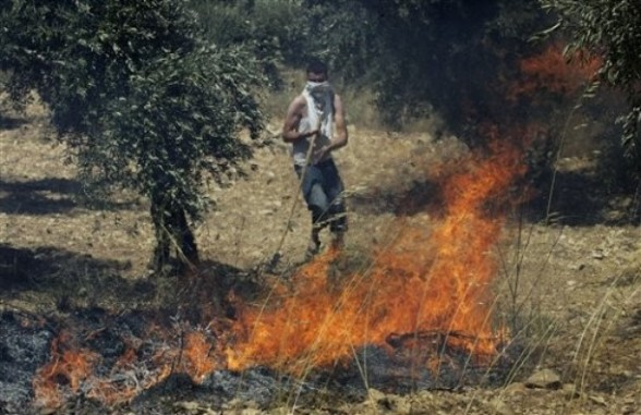 A Palestinian tries to extinguish fires at an olive tree grove that they claimed was set ablaze by Israeli settlers, which could not be independently verified, in the northern West Bank village of Burin, near Nablus, Thursday, June 30, 2011. (AP Photo/Nasser Ishtayeh)