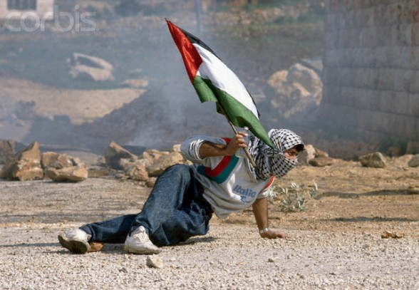 27 Feb 1988, Ramallah, West Bank --- A protester holds a Palestinian flag as he ducks down near an Israeli building in Ramallah during the First Intifada. During the conflict, Palestinian demonstrators threw rocks at Israeli soldiers in protest. --- Image by  Patrick Robert/Sygma/Corbis