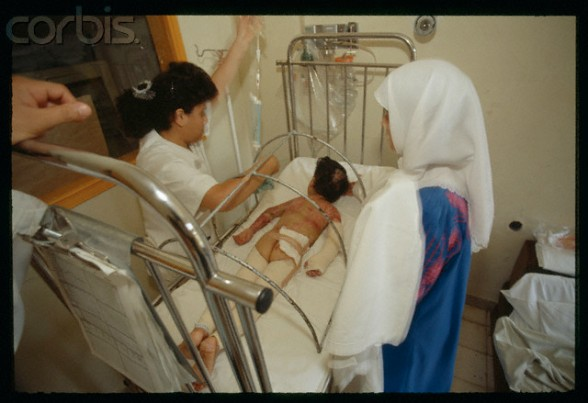 "06 Sep 1990, Jerusalem, Israel --- Nurses caring for young wounded Palestinians at Makassed hospital in Jerusalem. The ""Intifada hospital"" depends on financing from Kuwait and Saudi Arabia. --- Image by Antoine Gyori/Sygma/Corbis"