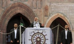 Senior Hamas leader Haniyeh delivers a speech during a rally in Gaza City
