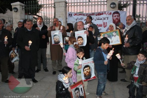 Protest in solidarity with Khader Adnan in front of the Nativity Church in Bethlehem. - Febr 8, 2012 -   Photos by Jenny Baboun & Yousef Shakarnah