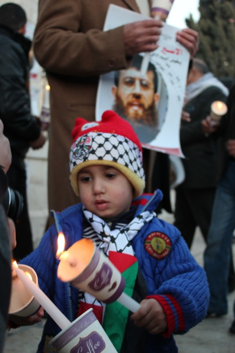 Solidarity demo for Khader Adnan in Bethlehem - Febr 8, 2012 - Photo by @jbaboun