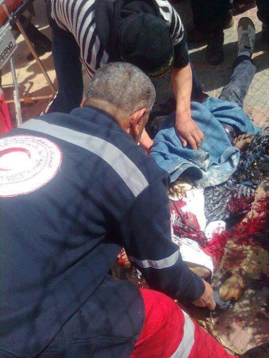 The two martyrs after attacked by zionists while riding on a motorcycle. Gaza March 10, 2012
