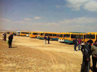 Pics of buses that bring protestors 2 #GM2J at the Jordanian side of border - Photo via @radical_s