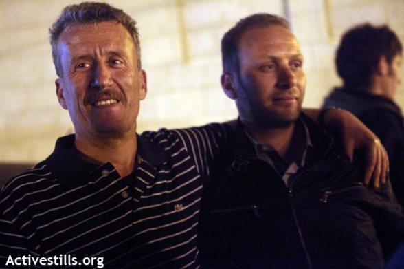 Bassem Tamimi from the West Bank village of Nabi saleh is seen after his release with his cousin Nizar Tamimi, Ramallah, April 24, 2012. Bassem Tamimi, one of the central figures in the popular struggle against the settlements' land theft in Nabi Saleh; was released on bail after more than a year in prison. He is not allowed to leave Ramallah area and go to his village until the final judge decision.