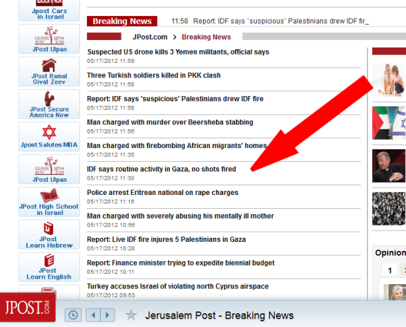 First Israel media even denies literally NO SHOT has been fired