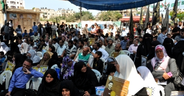 Sit in the tent rally of solidarity with the prisoners, organized by the Islamic Jihad in front of the Red Cross - Photo via Paltoday.ps