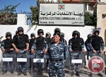 File photo of Palestinian riot police in front of the headquarters of the 