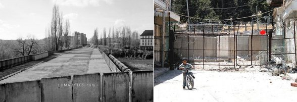 Berlin vs Israeli Apartheid wall in Palestine | Closing of the road till a dead end...