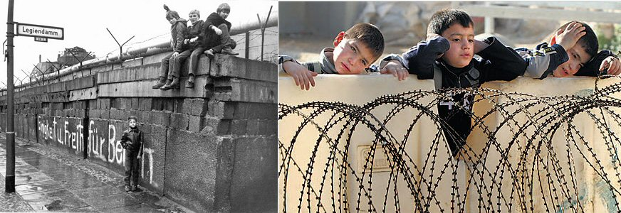 Berlin Kreuzberg, March 1972 vs Israeli Apartheid wall in Palestine | So children climb on the wall to see…