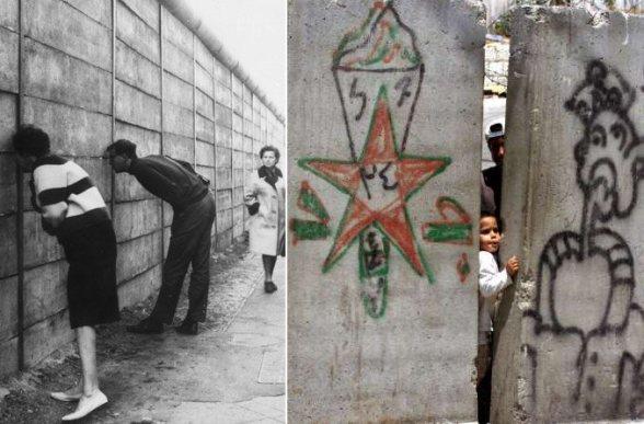 Berlin vs Israeli Apartheid wall in Palestine... | Or you go peeking through the wall...