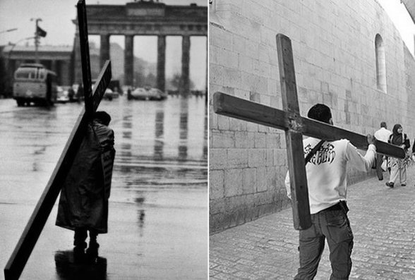 Carrying the cross in a divided city under siege which is surrounded by walls. Left Berlin on the Right Jerusalem. Religion under siege too.