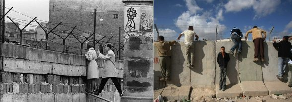 As in Berlin nowadays in Palestine people climb the wall to look... to the other side
