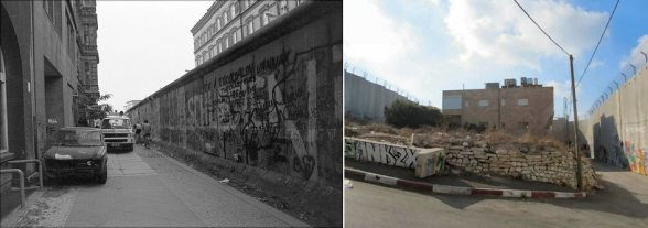 Berlin homes facing the wall. | Palestine home facing the wall.