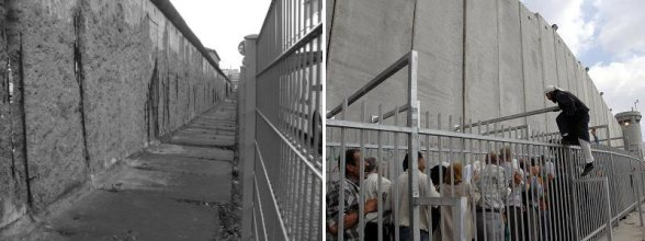 Berlin Wall and checkpoint zone: OUT of Use | Israel wall and checkpoint zone: Still IN use