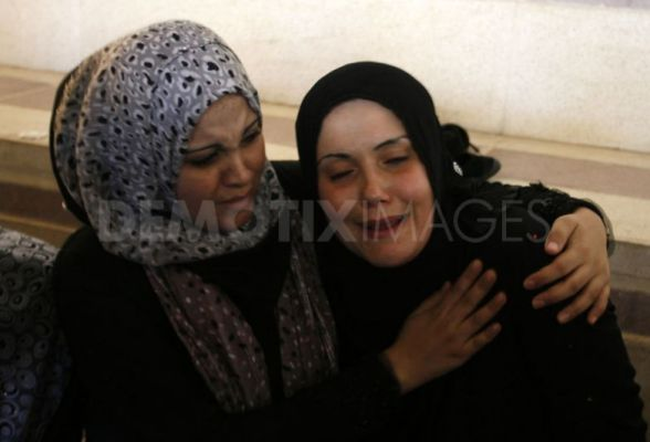 Palestinians mourns the death of two Hamas officials at the funerals on 20 September 2012 after Israeli attacks  by Abed Rahim Khatib