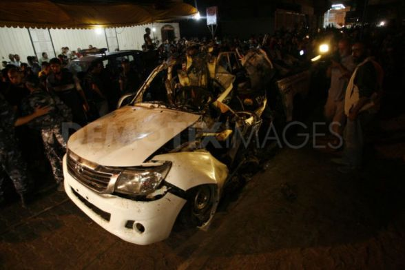 Israeli air strike on Palestinian car leaves two dead in Gaza September 19th, 2012   Photo by  Abed Rahim Khatib