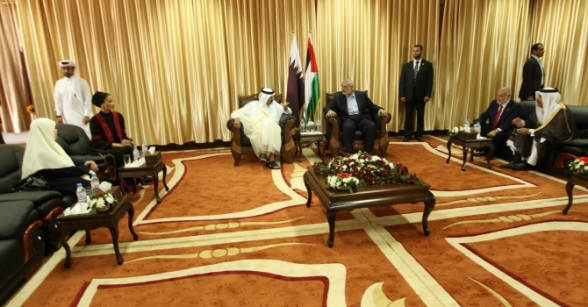 Welcome ceremony for the Emir of Qatar and his delegation in Gaza. Oct 23, 2012 Photo by PalToday