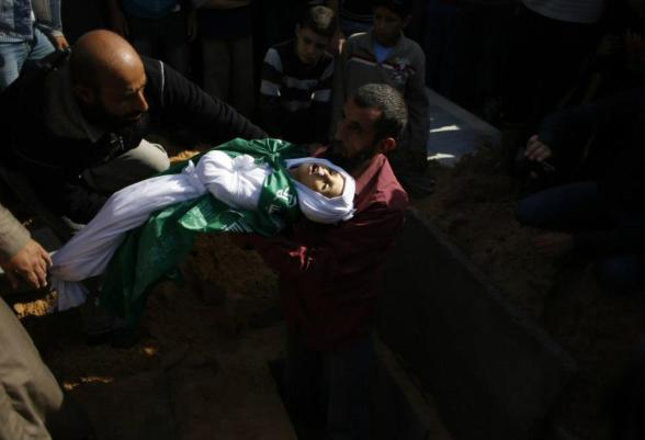 "A man buries a Palestinian child from Abu Sefan family at a cemetery in the northern Gaza Strip November 18, 2012. Two children Jumana Abu Sefan, 18 months old, and her brother Tamer, three and a half years old, were killed in an Israeli air strike on Sunday, hospital officials said. Israel bombed dozens of targets in Gaza for a fifth straight day on Sunday, launching aerial and naval attacks as its military prepared for a possible ground invasion, though Egypt saw ""some indications"" of a truce ahead. REUTERS/Mohammed Salem (GAZA - Tags: CIVIL UNREST MILITARY POLITICS CONFLICT) — with Nikita Bukowski."