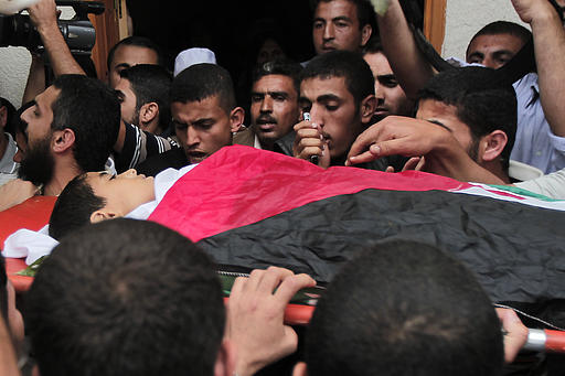 The funeral of 13 year old child Hamid Younis Abu Dagka  killed by Israel on Nov 8, 2012 buried in Gaza on Nov 9, 2012 | Photo via Paldf.net