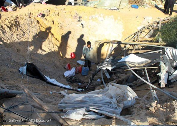 Israeli airstrikes hit the southern city of Rafah on Sunday at dawn, Nov. 11, 2012. - Photo by Saber Mohammad