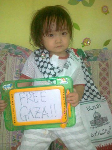 "Nov 21 2012 - Baby Fadly says ""Free Gaza"""