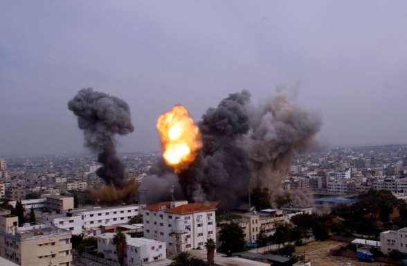 Nov 21 2012 Gaza - Israeli warplanes bombed the area around Yarmouk Stadium in Gaza Photo Hatem Moussa