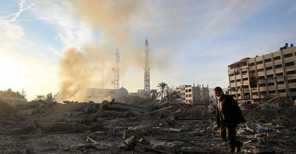 Nov 21 2012 The Israeli Targeting of the Abu Khadra governmental complex in Gaza - Photo by PalToday 3