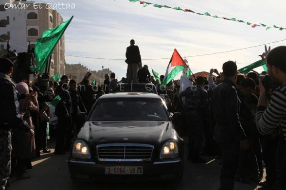 The arrival of head of the political bureau of Hamas, Khalid Mishal to the Gaza Strip - Photo by Omar al Qattaa