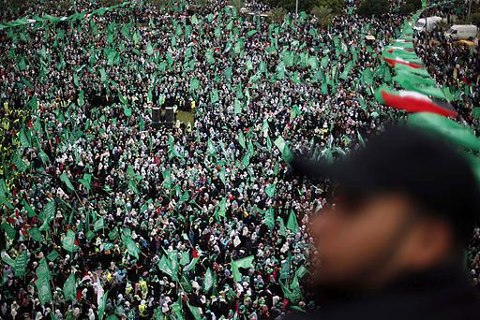 Gaza Celebrating 25 years of resistance. Hamas - First Intifada - Dec 8, 2012 Photo via Paldf