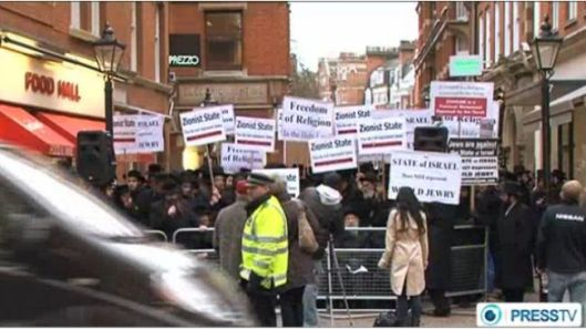 Jewish rabbis protested outside the Israeli embassy in London on December, 7.
