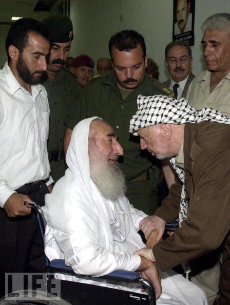 I can't conclude this album without mentioning the most famous Palestinian in a wheelchair, Sheikh Ahmad Yassin, paralysed since childhood. Bombed to death in his wheelchair by Israel.   More Photos of Sheikh Yassin at https://occupiedpalestine.wordpress.com/2011/03/22/shaheed-sheikh-ahmad-yasin/