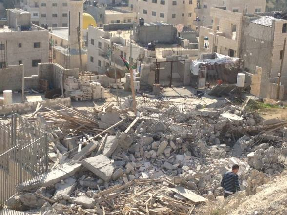 Demolishing New Year from the occupation to Issawy family... This house has been demolished this morning with one more house in issawya village... The house belong to Raafat Issawy l, he is Samer's brother who is in hunger strike since 5 months in the Israeli jails