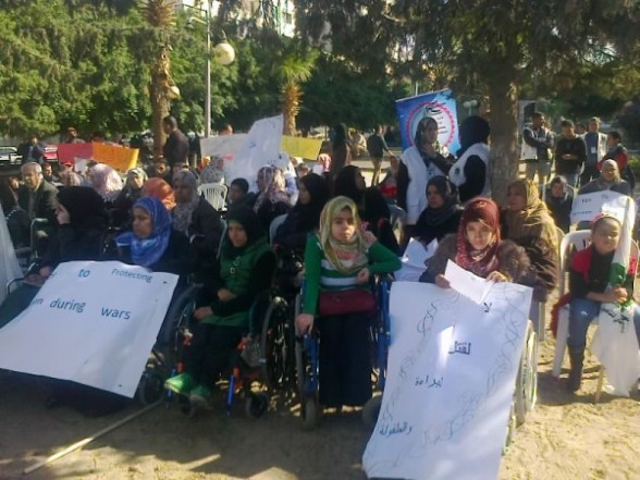 Disabled women have rights too. Protest in Gaza Photo by WalaaGH