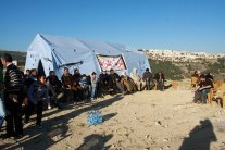 Palestinians establish new tented protest village, Al Karamah Palestinian activists establish a new tented protest village northwest of Jerusalem, the second such initiative against Israeli settlement building in as many weeks. Activists set up a tent and a small building in the area near Beit Iksa, naming the village al-Karamah (Dignity). Eloïse Bollack / Wafa Images