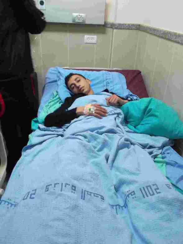 Ammar awaiting operation in hospital - Photo by ISM Palestine
