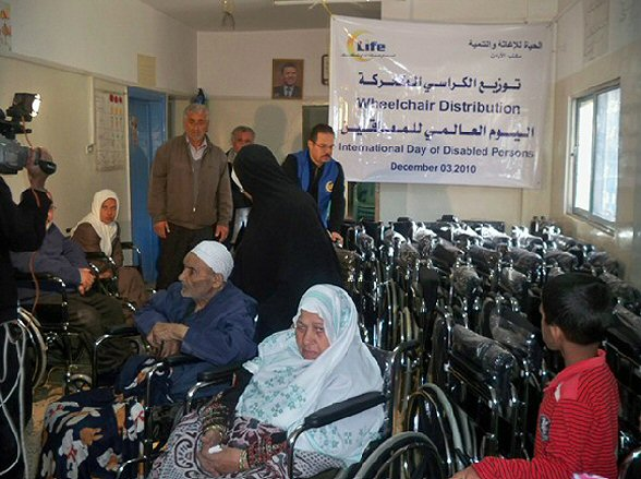Dec 3 2010 Life distributes wheelchairs to disabled Palestinians in Jordan