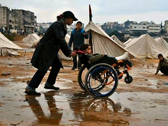 Disabled child in Gaza refugee camps after Gaza Cast Lead War ending Jan 2009