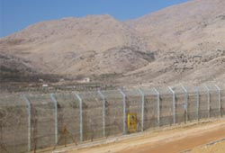 Electrified fence on the occupied Syrian Golan Heights.