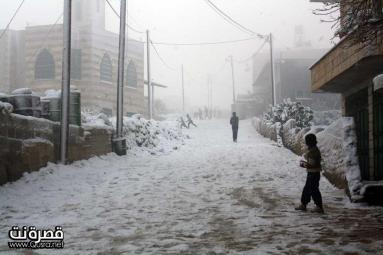 Jan 10 2013 - Qusra in the snow in Palestine - Photo by Qusra net