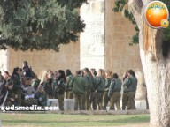 Jan 29 2013 Female Israeli Soldiers March through Aqsa Compound - Photo by QudsMedia 1