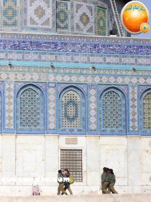 Jan 29 2013 Female Israeli Soldiers March through Aqsa Compound - Photo by QudsMedia 17