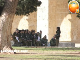 Jan 29 2013 Female Israeli Soldiers March through Aqsa Compound - Photo by QudsMedia 19