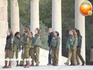 Jan 29 2013 Female Israeli Soldiers March through Aqsa Compound - Photo by QudsMedia 31
