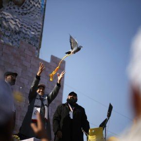 A Palestinian releases a pigeon during a rally marking the 48th anniversary of the founding of the Fatah movement, in Gaza City January 4, 2013. Hundreds of thousands of Palestinians joined a rare rally staged by President Mahmoud Abbas's Fatah group in Gaza on Friday, as tensions ease with rival Hamas Islamists ruling the enclave since 2007. REUTERS/Suhaib Salem