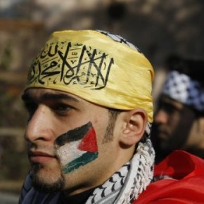 A man at a rally in support of President Mahmud Abbas's Farah party in Gaza City on Friday. Hundreds of thousands of Fatah supporters joined in the party's first mass rally in Gaza since Hamas seized control of the territory in 2007, according to a Fatah spokesman