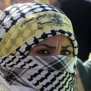 A Fatah supporter at the party's rally in Gaza City on Friday. Hundreds of thousands of supporters of Palestinian president Mahmud Abbas's Fatah party on Friday held a mass rally in Gaza, their first since Hamas seized control of the territory in 2007